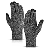 TRENDOUX Winter Gloves, Knit Touch Screen Glove Men Women Texting Smartphone Driving - Anti-Slip - Elastic Cuff - Thermal Soft Wool Lining - Hands Warm in Cold Weather - Black White - M