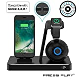 ONE Dock (Apple Certified) Power Station Dock, Stand & Built-in Lightning Connector for Apple Watch Smart Watch (Series 1,2,3,4 Nike+), iPhone, iPad & iPod (Speaker + Apple Watch Charger -Black)