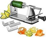 Mitbak Stainless Steel Vegetable Spiralizer Slicer | Industrial-Grade 3-Blade Zoodle Maker | Restaurant-Quality Spiral Slicer Great For Low Carb, Paleo, Vegan, Keto, Spaghetti | Premium Kitchen Tools