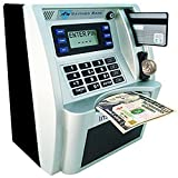 ATM Savings Bank,Personal ATM Cash Coin Money Savings Piggy Bank Silver/Black Machine for Kids