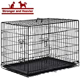BestPet Dog Crate Dog Cage Extra Large Metal Wire Home Folding Double-Door Dog Kennel with Handle and Divider,48'