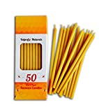 50 Natural 100% Pure Beeswax Taper Candles (6 in) Natural Honey Scent, Dripless, Smokeless, Nontoxic (Not Ear Candles)