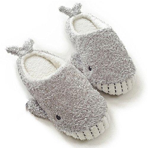 HALLUCI Women's Cozy Fleece Memory Foam House Trick Treat Halloween Slippers (9-10 M US, Wicky Shark)