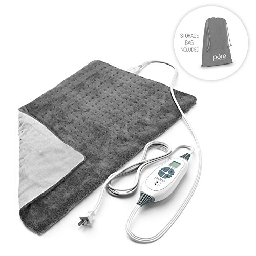 Pure Enrichment PureRelief XL King Size Heating Pad (Charcoal Gray) - Fast-Heating Machine-Washable Pad - 6 Temperature Settings, Moist Heat Therapy Option, Auto Shut-Off and Storage Bag - 12' x 24'