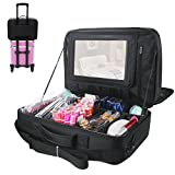 Relavel 3 layer Multi -Functional Professional Makeup Train Case Super Large Makeup bag Organizer for Brush Hair Curler Salon Nail Beauty tool Attach to Trolley With Mirror for Travel Black 17.7'