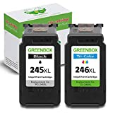 GREENBOX Re-Manufactured Ink Cartridge Replacement for Canon PG-245XL CL-246XL PG-243 CL-244 Used in Canon PIXMA MG2520 MG2920 MG2922 MG2420 MG2522 MG3022 MG2555 TS302 TR4520(1 Black 1 Tri-Color)