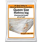 Mattress Bags for Moving - Queen Mattress Storage Bag - 5 Mil Heavy Duty Thick Plastic Cover Wrap Protector - Reusable Bag Supplies for Moving Queen