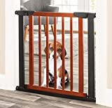 Palmer Dog Gate - Indoor Pet Barrier, Expandable to 40', Walk Through Swinging Door, Extra Wide, Pressure Mounted, Walls, Stairs. Small and Large Dogs. Wood, Metal. Best Dog Gate. NMN Designs