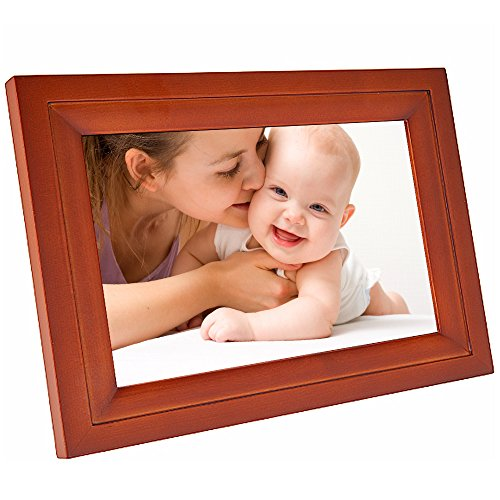 Hdgenius 7 Inch WIFI Digital Photo Frame with HD Touch Display , iPhone & Android App and Real Wood Frame - Red Wood(IPF07R)