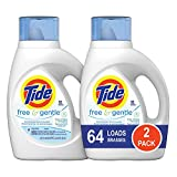 Tide Free and Gentle HE Liquid Laundry Detergent, 2 Pack of 50 oz., Unscented and Hypoallergenic for Sensitive Skin, 64 Loads
