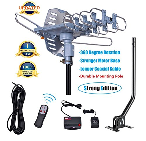 150 Miles Range-Amplified Digital Outdoor TV Antenna with Mount Pole-4K/1080p High Reception-40FT Coaxial Cable-360° Rotation Wireless Remote- Snap On Installation-2 TVs Function
