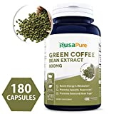 Best Green Coffee Bean Extract 800mg 180caps (Non-GMO, Gluten Free & 50% Chlorogenic Acid) Max Strength Natural GCA Antioxidant Cleanse for Weight Loss - Made in USA - 100% Money Back Guarantee!