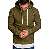 Realdo Big Mens Solid Casual Hoodie Autumn Winter Top Tracksuit with Pocket Army Green