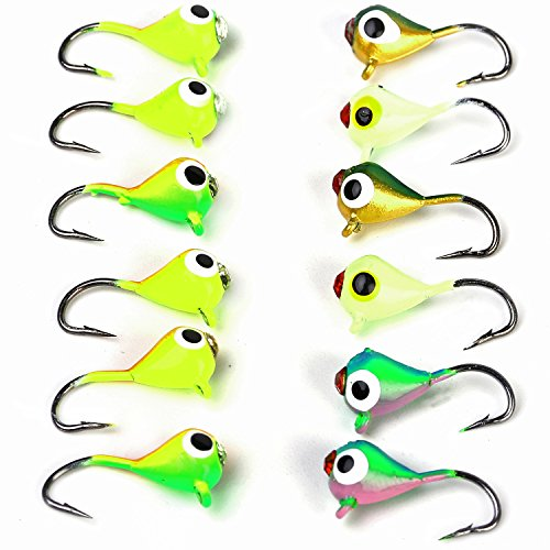 Sougayilang Ice Fishing Jigs with Treble Hook Jig Heads Fishing Lures for Walleye Winter ice Jigging- Pack of 12