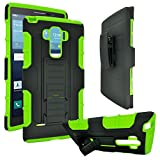 LG G Vista 2 Case, Customerfirst, Heavy Duty Dual Layer Holster Case Kick Stand with Locking Belt Swivel Clip (Robot Green)