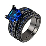 D.B.MOOD 2PCS Gorgeous Amazing Sapphire Black Gun Plated Ring With Blue Crystal 9