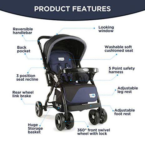 LuvLap-Galaxy-StrollerPram-Extra-Large-Seating-Space-Easy-Fold-for-Newborn-BabyKids-0-3-Years-NavyBlack