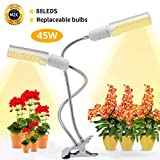 LED Grow Light for Indoor Plant, Replitel 45W 88 LEDs Sunlike Full Spectrum Grow Lamp with Replaceable Bulb Auto ON & Off with 3/6/12H Timer 5 Dimmable Levels 3 Switch Modes Adjustable Gooseneck