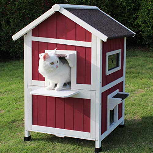 ROCKEVER Feral Cat Shelter Outdoor with Escape Door Rainproof Outside Cat House Two Story for Three-Four Cats Color Wine Red