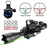 UUQ 4-16x50 Tactical Rifle Scope Red/Green Illuminated Range Finder Reticle W/RED(Green) Laser and Multi Coated Holographic Reflex Dot Sight (12 Month Warranty) (Green Laser W/New Dot Sight)