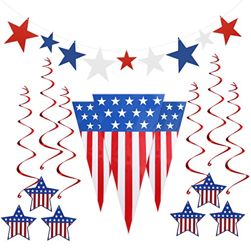 4th of July Decorations Includes Pennant Flags 24 Feet, 6 Foil Hanging Swirls, 9 Star Cutouts for Patriotic Decoration Independence Day Party Supplies