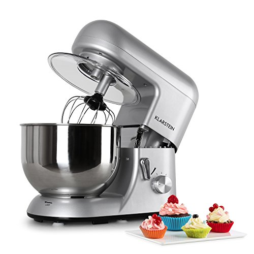 KLARSTEIN-Bella-Argentea-Tilt-Head-Stand-Mixer-Food-Processor-Dough-Hook-Flat-Beater-Wire-Whip-650-W-55-qt-Stainless-Steel-Bowl-6-Speed-Planetary-Mixing-Easy-to-Operate-and-Clean-Silver