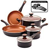 Farberware 10365 Glide Dishwasher Safe Nonstick Cookware Pots and Pans Set, 11 Piece, Black