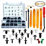 GearLiv Car Retainer Clips Plastic Fasteners Kits, 460 Pcs, 19 Most Popular Sizes Auto Push Pin Rivets Set -Door Trim Panel Clips for GM Ford Chevy Toyota