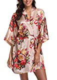 Laurel Snow Floral Satin Kimono Robes for Women Short Bridesmaid and Bride Robe for Wedding Party,Apricot M
