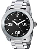 NIXON Corporal SS A346 - Black - 100m Water Resistant Men's Analog Field Watch (48mm Watch Face, 24mm Stainless Steel Band)