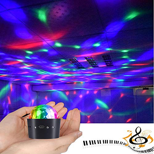 Mini Disco Ball Light Battery Operated, YSSHUI Sound Activated Multi-coloured Disco Ball Light,Car Decoration Light,Led Stage Light,Christmas Lights,Party Light(Portable & Battery Powered)