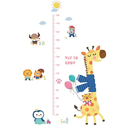 Guluded Giraffe Animal Height Wall Sticker Wall Decal Home Decor Wall Poster Paper Murals Decal Removable