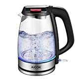 Electric Kettle Glass Tea Kettle, Ultra Fast Boil Water Kettle Cordless, Food Grade Borosilicate Glass, Double Safety Locker, Boil Dry Protection and Auto Shut off Function,1500W,1.7L, by Aicok
