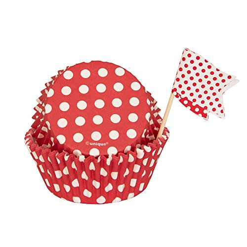 Red Polka Dot Cupcake Kit for 24