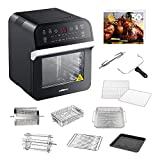 GoWISE USA GW44800-O Deluxe 12.7-Quarts 15-in-1 Electric w/Rotisserie and Dehydrator + 50 Recipes for Your Air Fryer Oven Book (Black)