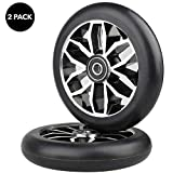 Kutrick Complete 2pcs 110mm Pro Stunt Scooter Replacement Wheels with ABEC-11 Bearing (Black/Black)