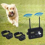 Wireless Dog Fence Electric Pet Containment System, Safe Effective Vibrate/Shock Dog Fence, Adjustable Range Up to 900 Feet & Display Distance, Rechargeable Waterproof Collar (2 Dog System)