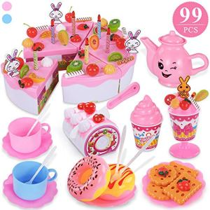 TEMI 99pcs Pretend Play Birthday Cake for Kids, Decorating Party Toy Food and Tea Sets with Removable Candles/Fruit/Milk Shake/Biscuits, Role-play Kitchen Toy for Children Aged 3+ (Stickers Included) 51sIwcf 1QL