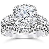 1 3/4ct Cushion Diamond Vintage Halo Engagement Wedding Ring Set 14K White Gold in Size 4-12