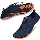 hiitave Men Water Shoes Barefoot Beach Aqua Socks Quick Dry for Outdoor Sport Hiking Swiming Surfing Navy 9.5/10 M US Men
