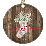 Rustic First Time New Homeowner Ornament Cute Country Christmas Collectible Dated 2019 Welcome Home Gift Basket Housewarming Party Realtor Client Present 3' Flat Circle Ceramic Holiday Tree Decoration