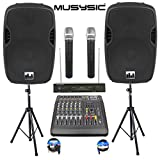 Complete Professional 2000 Watts PA System 6 Channel Power Mixer 15' Speakers Dual Wireless Microphone