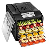 Magic Mill MFD-6100 Magic Mill Professional Dehydrator Machine, 6 Stainless Steel Drying Racks, Multi-Tier Food Preserver, Digital Control Bundle Bonus 2 Fruit Leath, Black