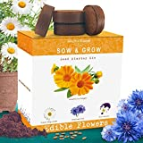 Nature's Blossom Edible Flower Kit - Grow 4 Culinary Flowers from Seed. A Complete Starter Set with Organic Seeds, Planting Pots, Seed Starting Soil, Plant Labels and Gardeners Growing Manual