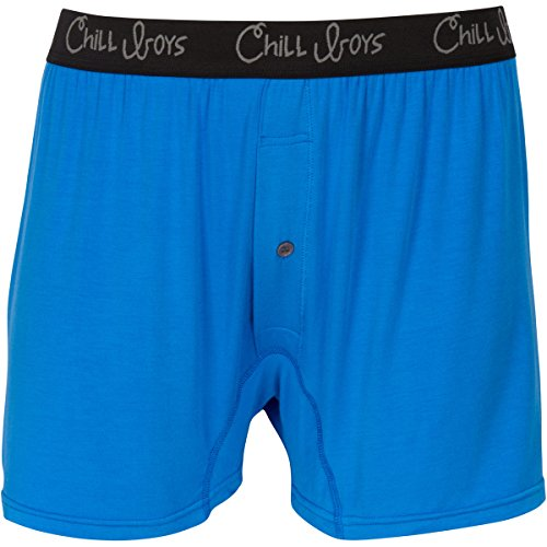Chill Boys Bamboo Boxers - Soft, Cool, Comfortable Bamboo Underwear (Medium, Blue)
