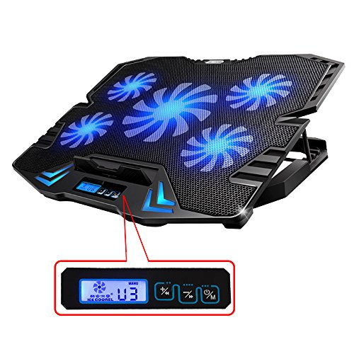 TopMate TM-3 12-15.6' Five Quite Fans LCD Screen 2500RPM Strong Wind Speed Designed Gaming Laptop Cooler