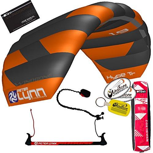 Peter Lynn Hype TR Foil Power 2-Line Trainer Kite w Leash Kitesurfing Snowkiting Landboarding Buggy Traction Bundled with WindBone Kiteboarding Decals, Key Fob & Koozie (1.9M Orange)