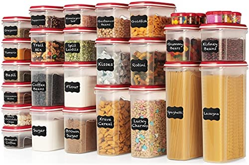 LARGEST Set of 60 Pc Airtight Food Storage Containers (30 Container Set) Airtight Plastic Dry Food Space Saver Organizer, One Lid Fits All-Stackable Freezer Refrigerator kitchen Storage Containers RED