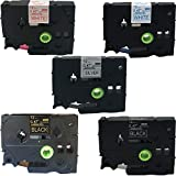 NEOUZA 5PK Compatible for Brother P-Touch Laminated TZe TZ 334 335 931 233 232 Label Tape Cartridge 12mm x 8m(Blue on White,Red on White,White on Black,Black on Silver,Gold on Black)