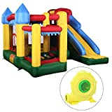Costzon Mighty Inflatable Bounce House, Castle Jumper Moonwalk Slide Bouncer, Kids Jumper with Balls (Bounce House with 680W Blower)